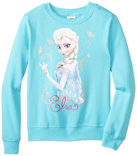 Frozen Little Girls' Elsa Crew Neck Long-Sleeve Sweatshirt