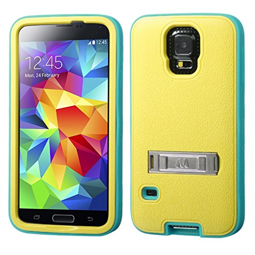 Mybat Verge Hybrid Protector Cover With Stand For Samsung Galaxy S5 - Retail Packaging - Natural Baby Yellow/Tropical Teal