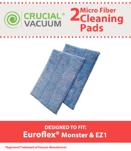 New High Quality 2PK Replacement Micro Fiber Cleaner Pads Designed To Fit Euroflex Monster EZ1 Steam Mop (Monster Steamer Replacement Pads compare prices)