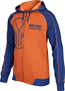 New York Knicks Adidas Pindot Full Zip Orange Hooded Sweatshirt by adidas