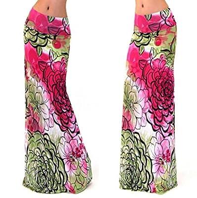 Pooqdo Womens Summer Boho Long Maxi Dress Beach Waist Skirt Sundress