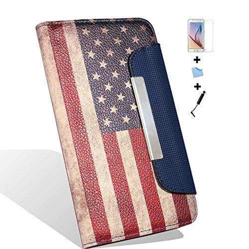 Aeontop 4 en 1 US FLAG Pattern Custodia per Samsung Galaxy S6 Edge SM-G9250 Elegante borsa in pelle Custodia Case Cover Protezione chiusura ventosa, Pellicola di Protezione e dello stilo Incluse , Retro American Flag