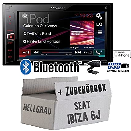 Seat Ibiza 6J 2DIN hellgrau - Pioneer MVH-AV280BT - 2DIN USB Bluetooth Touch - Autoradio - Einbauset