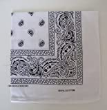 100% cotton Paisley Design Bandana (White)