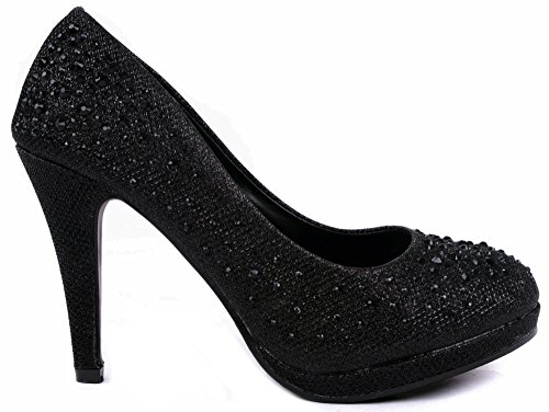 JJF Shoes Apple5 Black Rhinestone Glitter Sparkling Bling Formal Evening Pumps-7.5