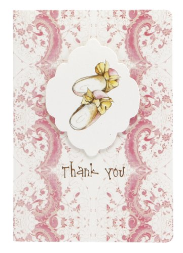 C.R. Gibson 10 Count Cid Pear Boxed Thank You Note Cards, Baby Slippers front-934970