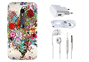 Spygen Motorola Moto G Case Combo of Premium Quality Designer Printed 3D Lightweight Slim Matte Finish Hard Case Back Cover + Charger Adapter + High Speed Data Cable + Premium Quality Handfree