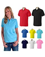 Ladies Polo Shirt Jersey 100% Cotton T-Shirt Plus Premium Soft Feel, Size 12 to 26