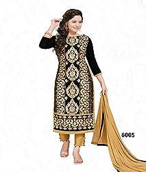 RK Fashion Black Color Karachi Cotton Unstitched Dress Embroidered Material (RUBINA6005-Black-Free Size)