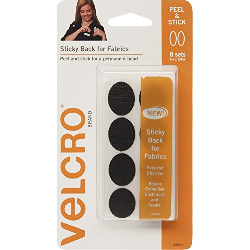 """Velcro Brand - Sticky Back For Fabrics: No Sewing Needed - 1"""" X 3/4"""" Ovals, 8 Sets - Black front-165287"""
