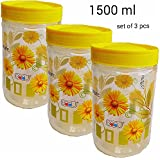 Saaz Beautiful Nature Flora Priented Round Airtight Pet Plastic Set Of 3 Kitchen Containers With Spoon.(yellow...