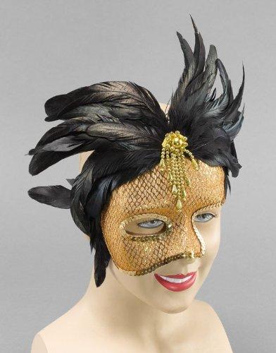 Phantom Feather 1/2 Face Gold Mask Ball Face