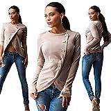 Longwu Women Long Sleeve Single Breasted Work Blazer Asymmetric Hem Jacket Coat Khaki-XL
