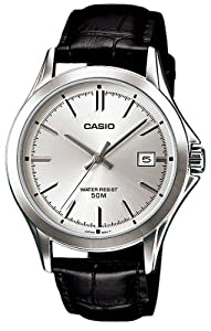 Casio #MTP1380L-7AV Men's Standard Analog Leather Band 50M Silver Dial Watch