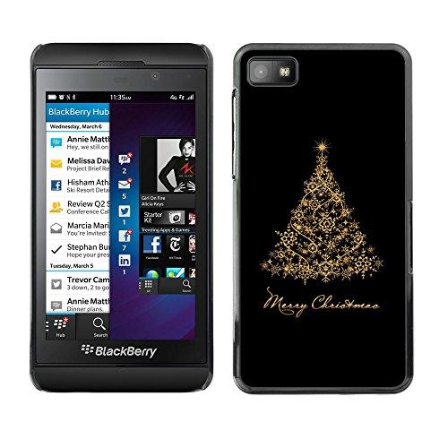 GooooStore/Dura Custodia Rigida della copertura della cassa - Christmas Holidays Black Gold Tree - Blackberry Z10