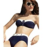 Blooming Jelly Women's Retro High Waist Bikini Set Swimwear With Button Navy Blue