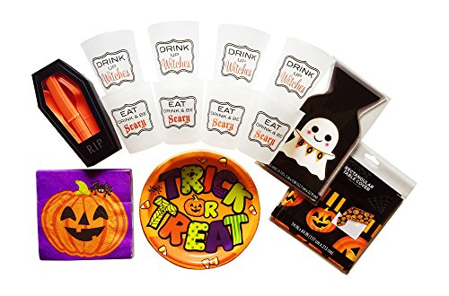 [HALLOWEEN PARTY SUPPLIES - PLATES NAPKINS - SILVERWARE - CUPS - GOODY BAGS - PUMPKIN TABLE COVER - SERVES 8] (Homemade Halloween Costumes Party Invitations)