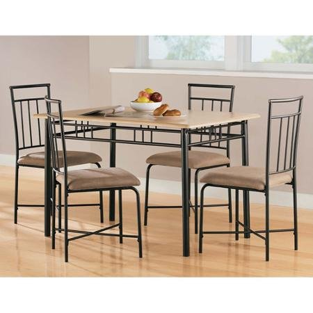 Mainstays 5-Piece Wood and Metal Dining Set, Natural