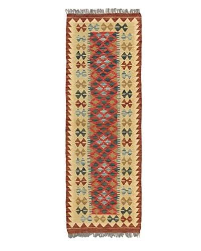 Hand Woven Kashkoli Kilim, Khaki/Red, 2' 2 x 6' 5 Runner