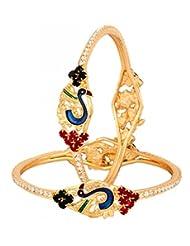 The Jewelbox Gold Plated Peacock Eternity American Diamond Meenakari Bangle Pair