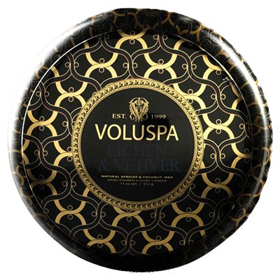 Voluspa 2 wick Candle in Printed Tin - Lichen & Vetiver