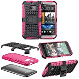 myLife Glam Pink + Classic Black {Rugged Design} Two Piece Neo Hybrid (Shockproof Kickstand) Case for the All-New HTC One M8 Android Smartphone - AKA, 2nd Gen HTC One (External Hard Fit Armor With Built in Kick Stand + Internal Soft Silicone Rubberized Flex Gel Full Body Bumper Guard)