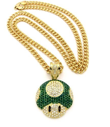 """New Iced Out Mushroom Face Pendant &6Mm/36"""" Cuban Chain Hip Hop Necklace Cp156Ggn"""