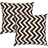 Greendale Home Fashions Toss Pillows, Zig Zag, Village Brown, Set of 2
