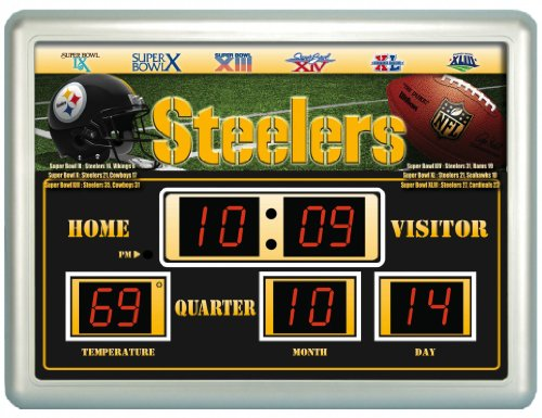 NFL Pittsburgh Steelers 14x19 Inch ScoreBoard-Clock-Thermometer