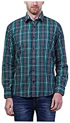 PRIknit Men's Casual Shirt (AF-S3-GG, Grey and Green, 40)