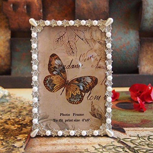 Amerikanischen Vintage-6-Zoll-weiße Perle Blumen blühen Legierungsrahmen Hochzeit Geschenk seiner Freundin Bilderrahmen Schaukeln zu senden