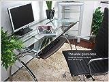 ワイドガラスパソコンデスク スライドテーブルは前後左右に可動 天板には厚さ8mm強化ガラス使用