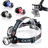 {Super Bright 900 lumens Zoomable}CREE XM-L T6 Beads 3 Light-Modes Led Headlamp - Fashion Style - 5.2 oz Light Weight - Comfortable Strap- 4 Bright Color-Powered by 3XAA Batteries(Not Included)-Lifetime Warranty! Perfect Gift as Running, Camping, Hiking, Hunting, Caving, & Biking for Family and Lovers!