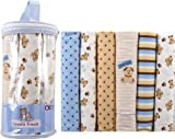 Luvable Friends 6-Pack Flannel Receiving Blankets, Blue