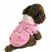 Dogloveit Fashion Elegant Windbreaker Jacket With Woolen Collar Soft Winter Coat For Dog Cat Puppy Pet, Pink, X-Large