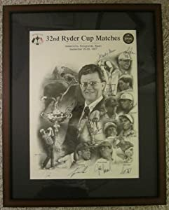 1997 Ryder Cup Team signed Poster -- Framed - Autographed Golf Photos by Sports Memorabilia