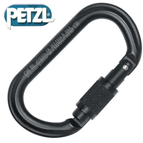 Petzl-Erwachsene-Karabiner-OK-Screw-Lock-Schwarz-M33-SLN