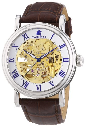 Carucci Self-Winding Watches Men's Watch XL Analogue Automatic Leather CA2203GD