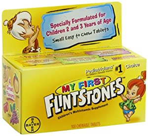 My First Flintstones Chewable Vitamins for Ages 2 to 3 Years, 100-Count Bottle
