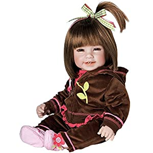 """Adora Toddler Cuddly & Weighted 20""Play Doll -""Workout Chic,"" ""Removable Hoodie Jacket and Fabric Shoes"" Brown Hair/Brown Eyes- Ages 6+"""