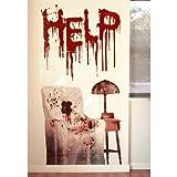 """Horror Wand Deko Schocker Poster Folie """"Psycho Haus"""" Blut Szene PVC mit schaurigem Motiv Halloween Party Schocker"""