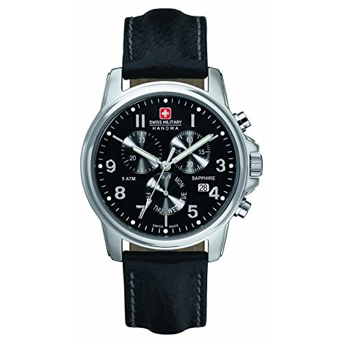 Swiss Military Swiss Soldier Chrono Prime Men's Quartz Watch with Black Dial Chronograph Display and Black Leather...