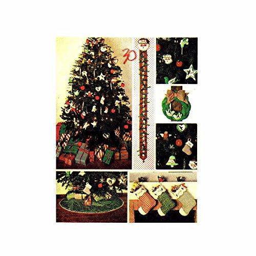 1980s Christmas Tree Skirt Stocking Calendar Wreath