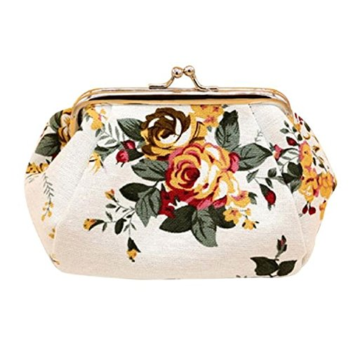 Clutch Bag, Misaky Women Lady Retro Vintage Flower Small Wallet Hasp Purse (White)
