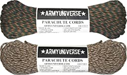 Woodland & Desert Camo 550LB US Paracord Value Pack - 200 Feet!