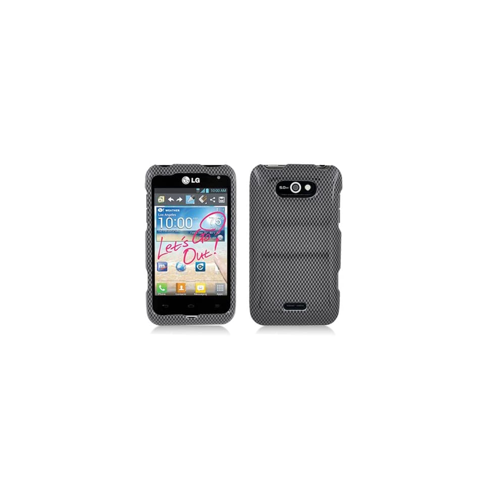 Black Carbon Fiber Print Hard Cover Case for LG Motion 4G MS770 Cell Phones & Accessories