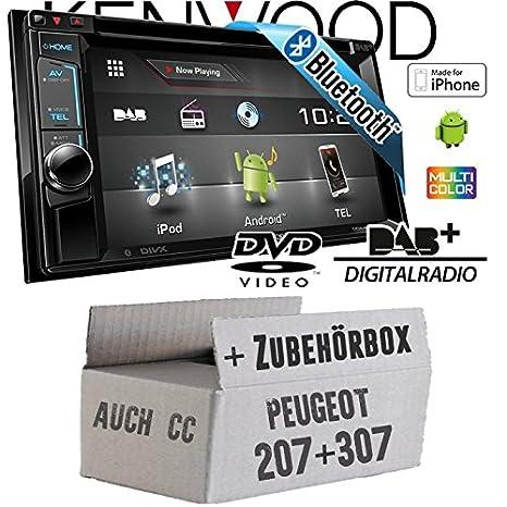 Peugeot 207 307 - Kenwood DDX4016DAB - 2DIN Bluetooth DVD DAB+ Digitalradio USB CD MP3 Autoradio - Einbauset