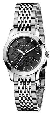 Gucci Women's YA126502 G-Timeless Black Dial Stainless-Steel Bracelet Watch by Gucci