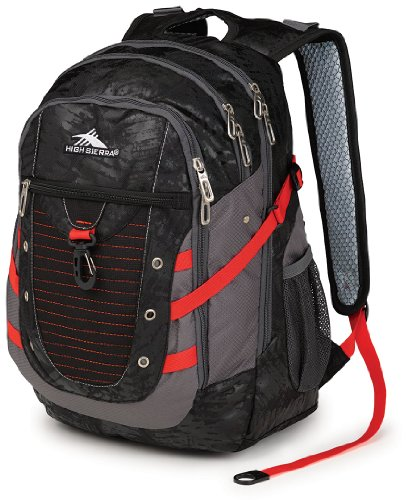 High Sierra Tactic Backpack, Black Treads/Charcoal/Crimson, 19 X 12.5 X 10.5-Inch front-1054745
