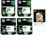 Original HP 950XL Black & 951XL Cyan Magenta Yellow Printer Ink Cartridges & 10x FREE HP Advanced Glossy Photo Paper For use with HP Officejet Pro 8600 Plus E-AIO